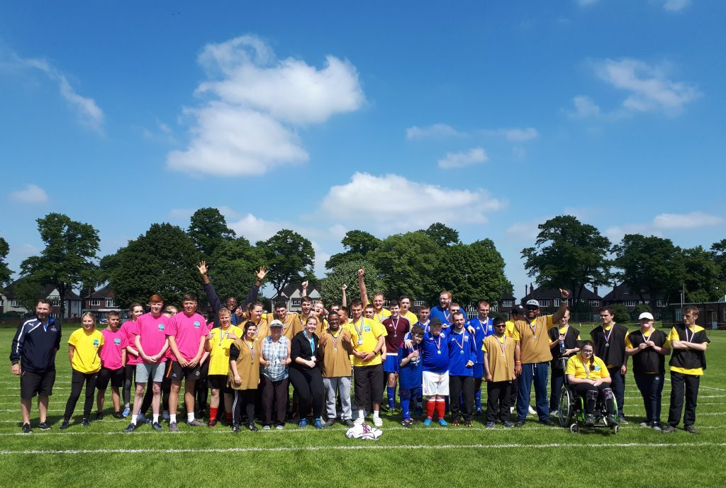Group photo of participating colleges and students at the Natspec 2018 Doncaster Games.