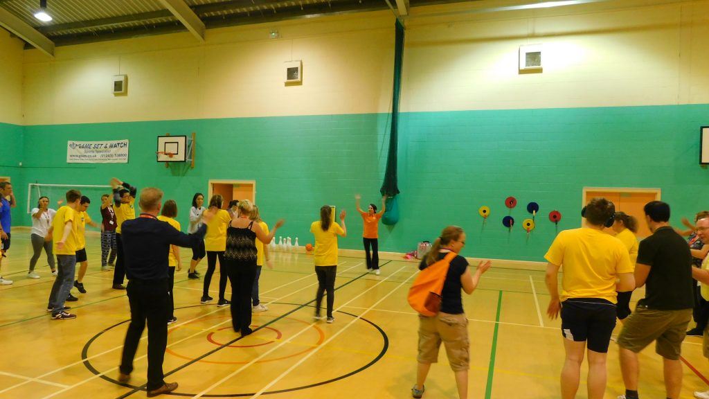 Students warming up and participating in activity at the 2018 Natspec Games in Havant & South Downs College.