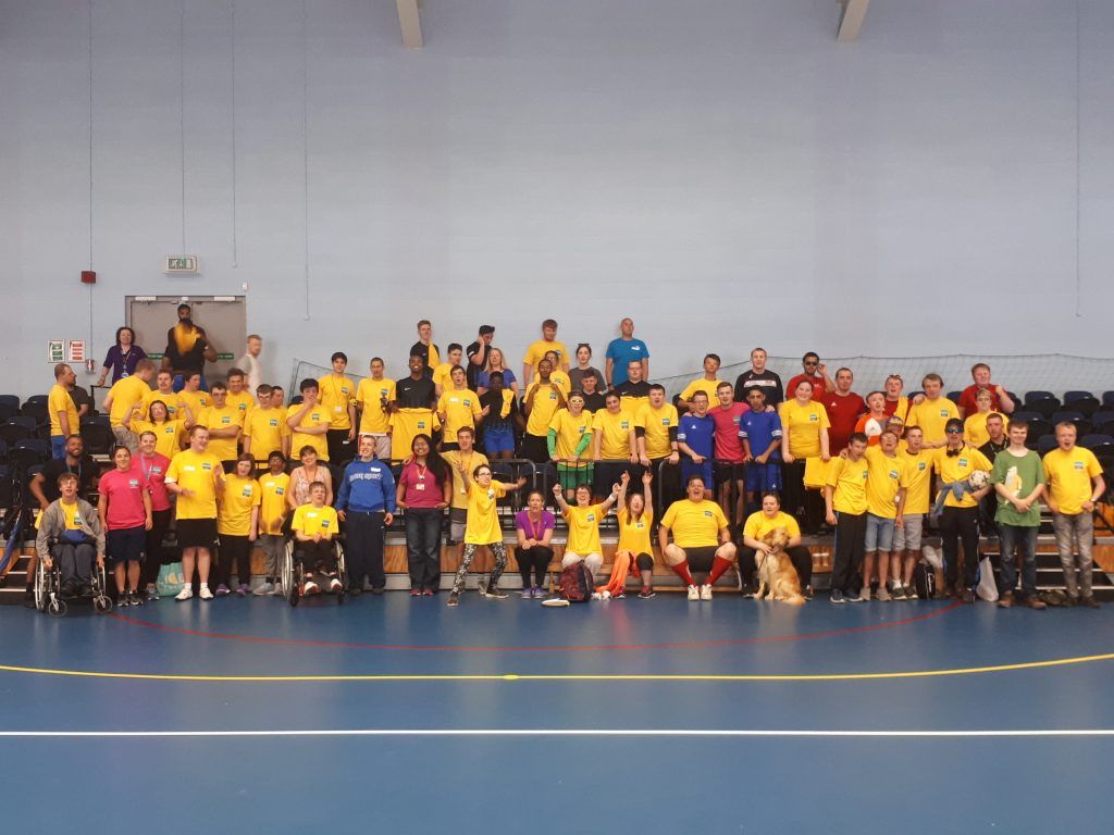 Group photo of participating colleges and students at the 2018 Natspec Games in Hereford at the Royal National College for the Blind (RNC).