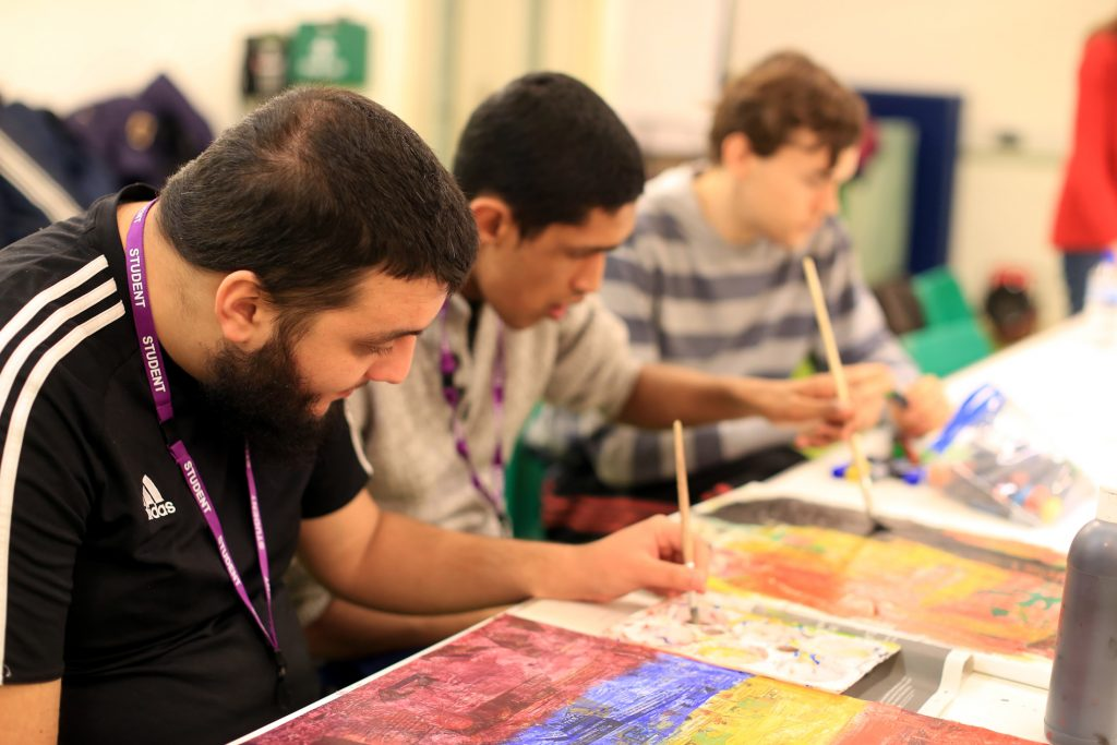 Students with SEND in an art lesson at Heart of Birmingham Vocational College