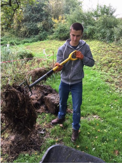 student doing horticultural work experience