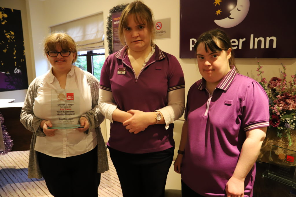 3 learners doing work placement at the premier inn derwen placement