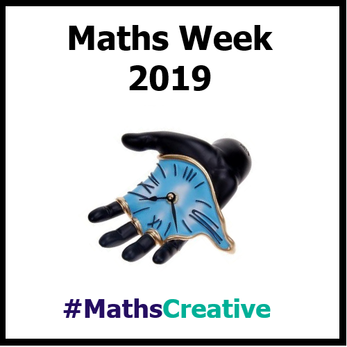 Maths Week logo (a hand with a melting clock)