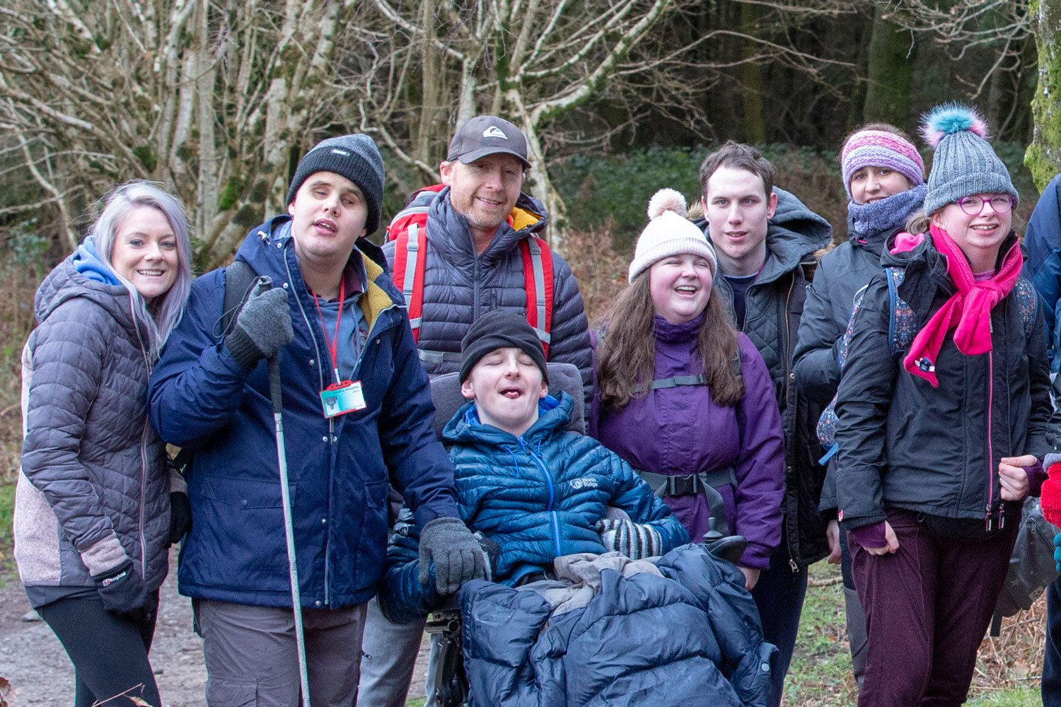 9 students with visual impairment participating in ten tors training