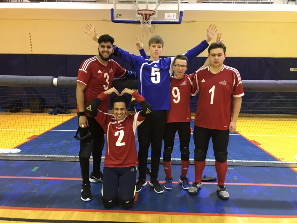 Stuart and other players at the International Goalball Tournament