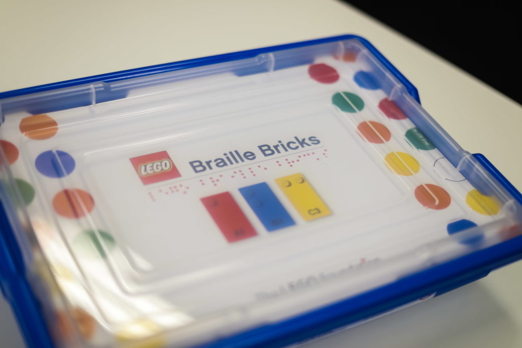 Box of LEGO Braille Bricks