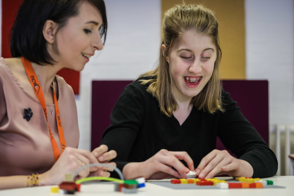 New College Worcester Student uses LEGO braille bricks