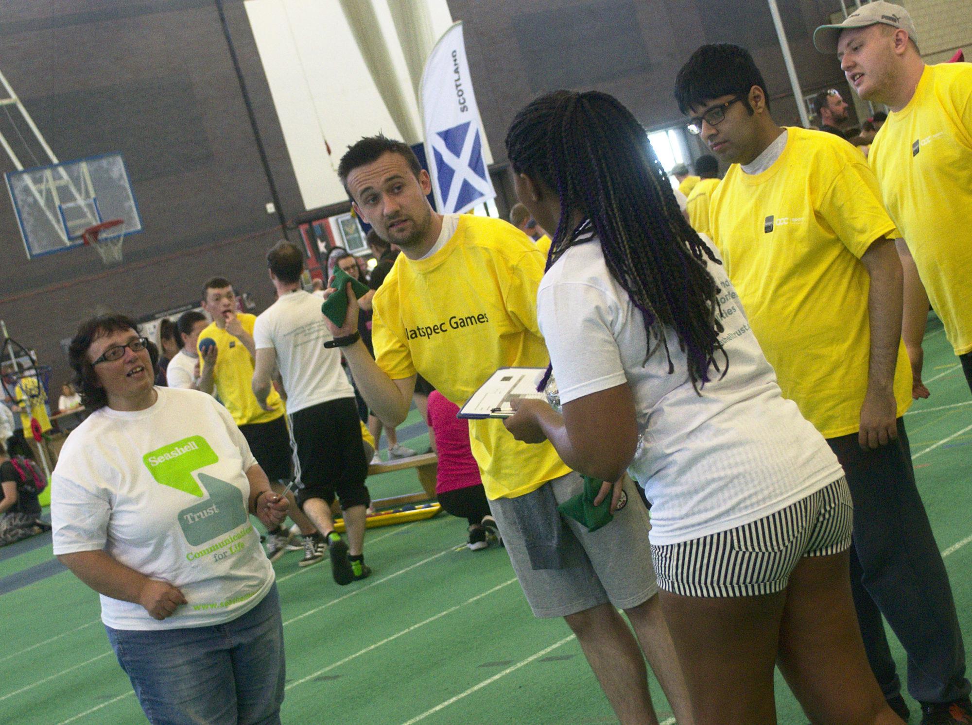 Volunteers advising a student