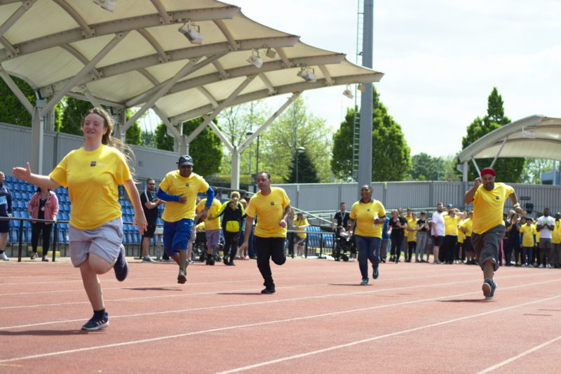 Students participating in a running race