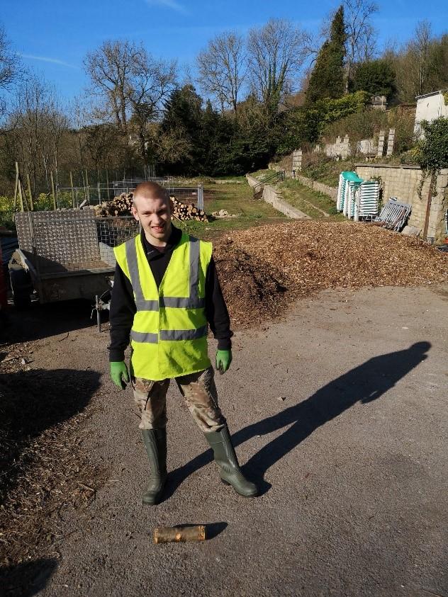 Mitchel working in a hi-vis vest