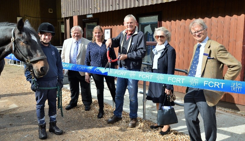 Martin Clunes and others cut the ribbon on the new IT centre