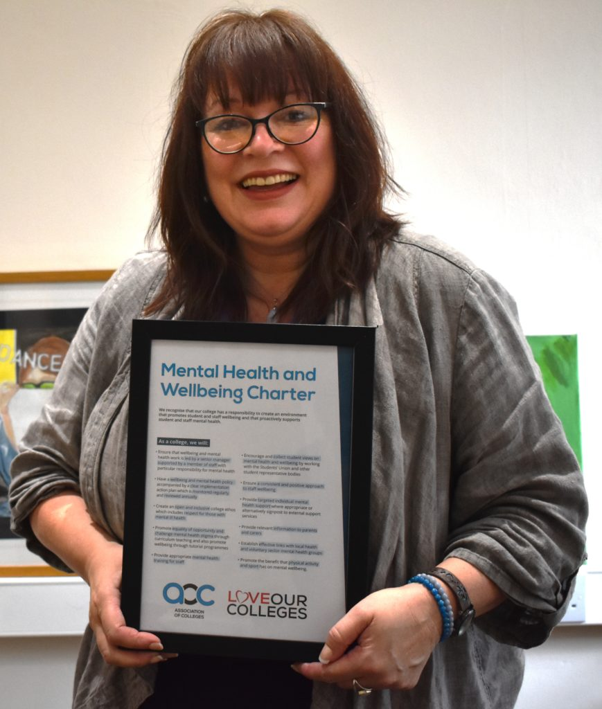 Bev Jessop with the AoC mental health and wellbeing charter