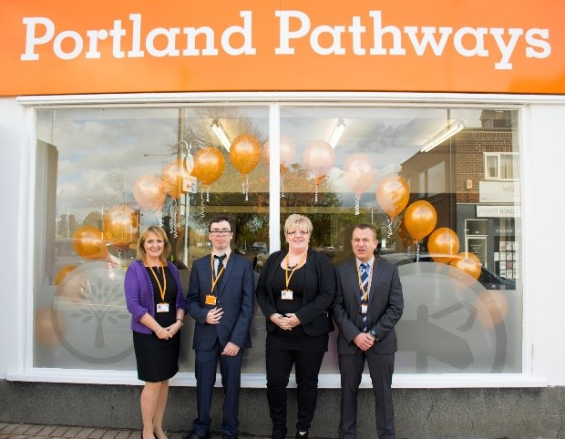 four members of staff outside Portland Pathways