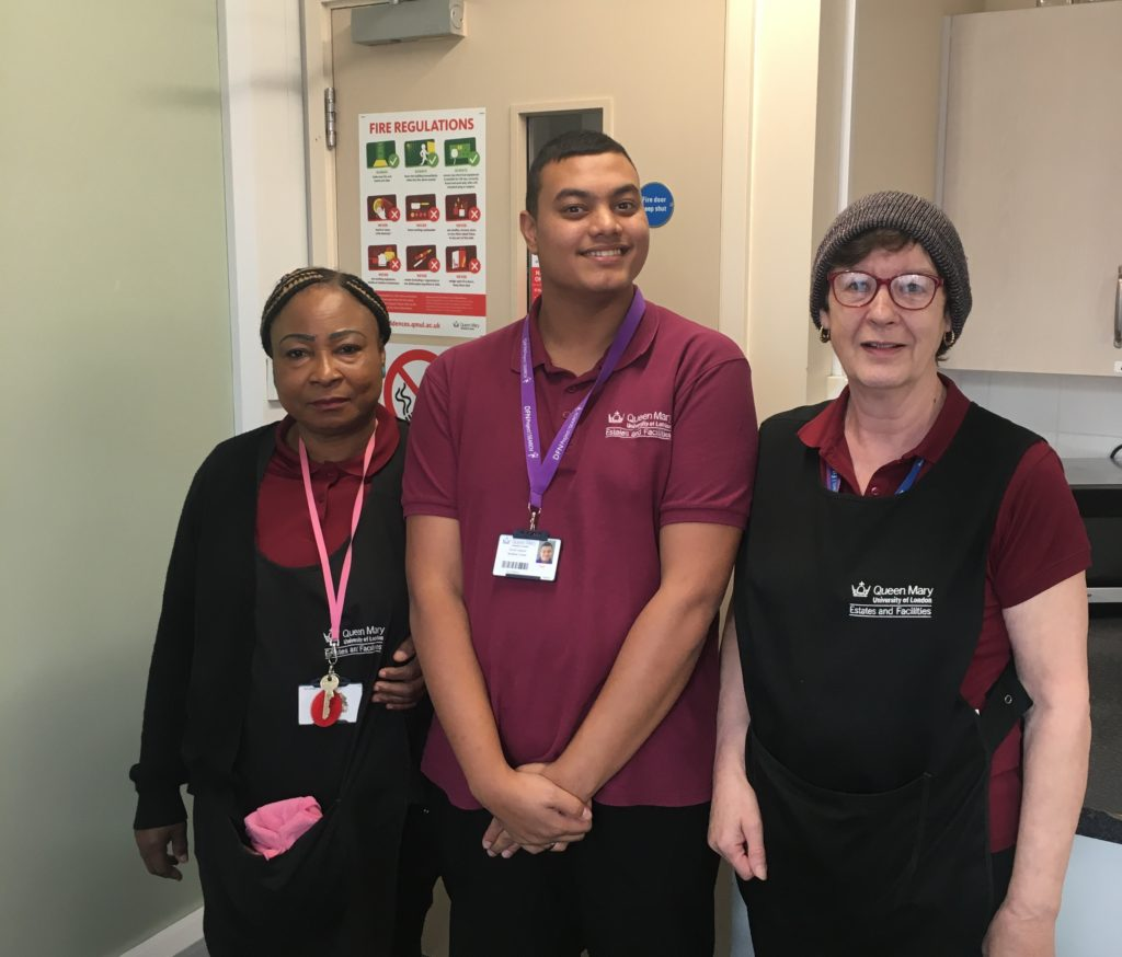 A student with two cleaners from Queen Mary UoL