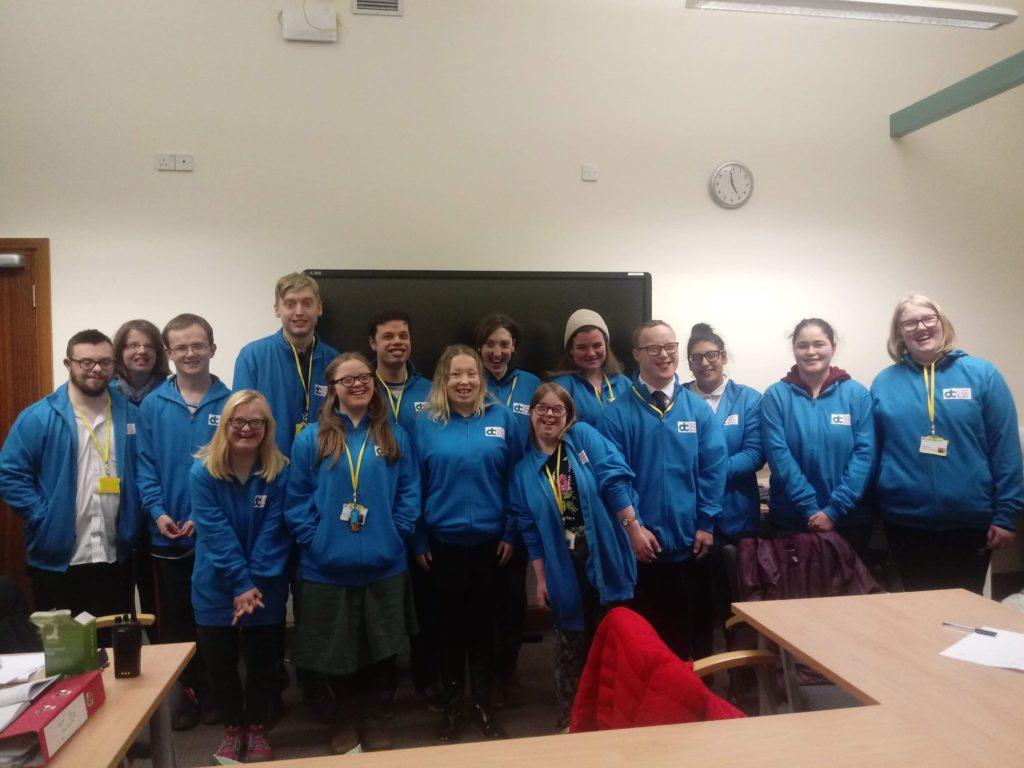 Derwen's student board in their blue derwen college jackets