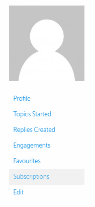 A screenshot of the profile navigation, showing links to profile, topics started, replies created, engagements, favourites, subscriptions and edit