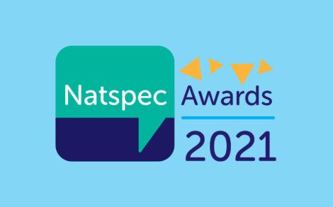 Natspec Awards 2021 logo on a pale blue background
