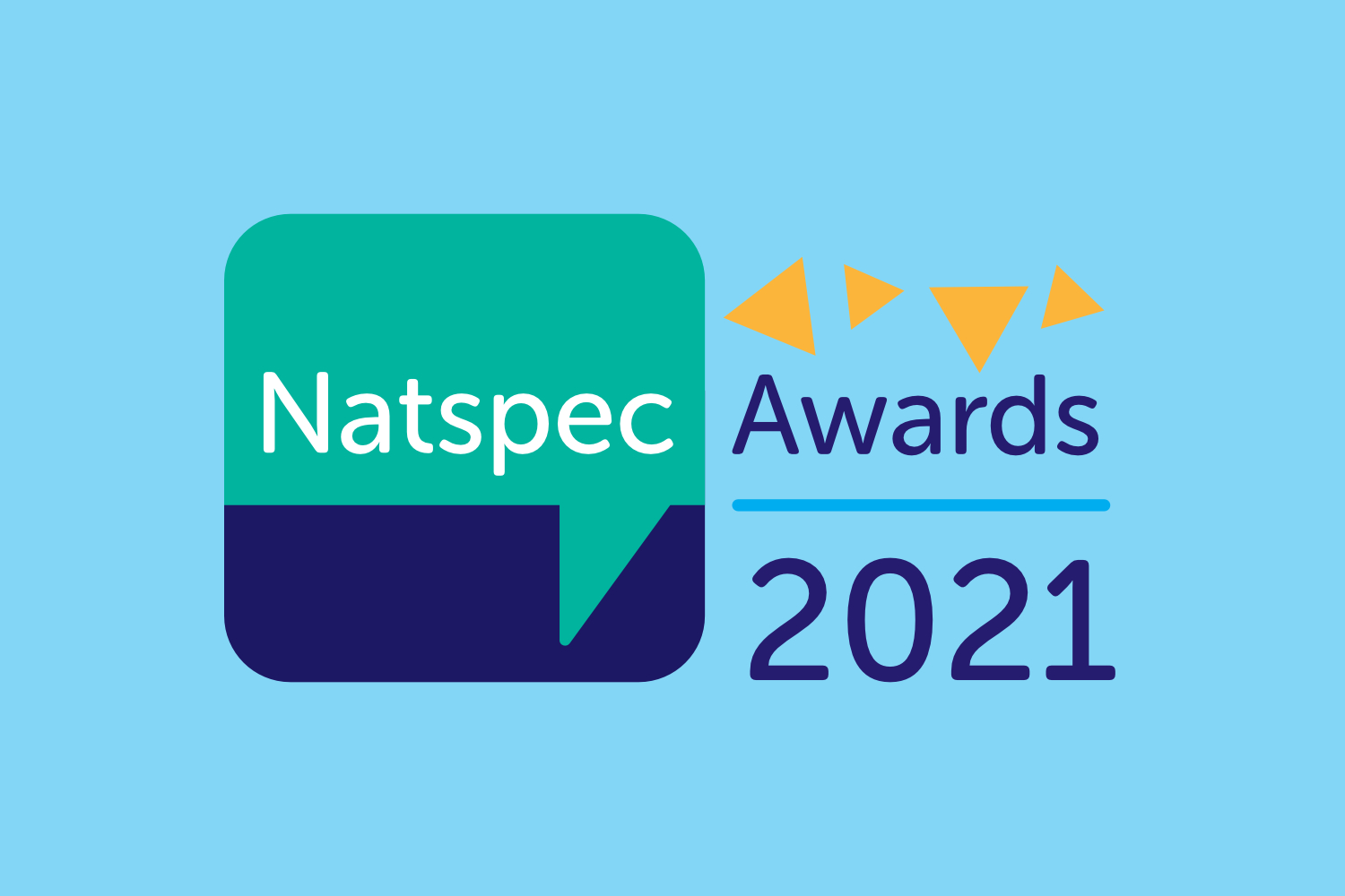 Natspec Awards 2021 logo on a pale blue background