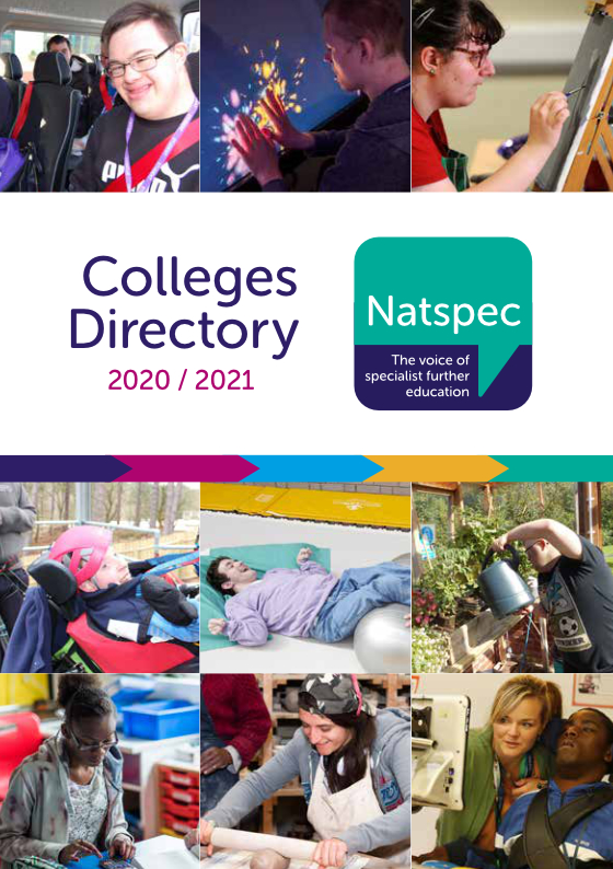 Natspec Colleges Directory 2020/21 displaying various images of students engaged in activities at college