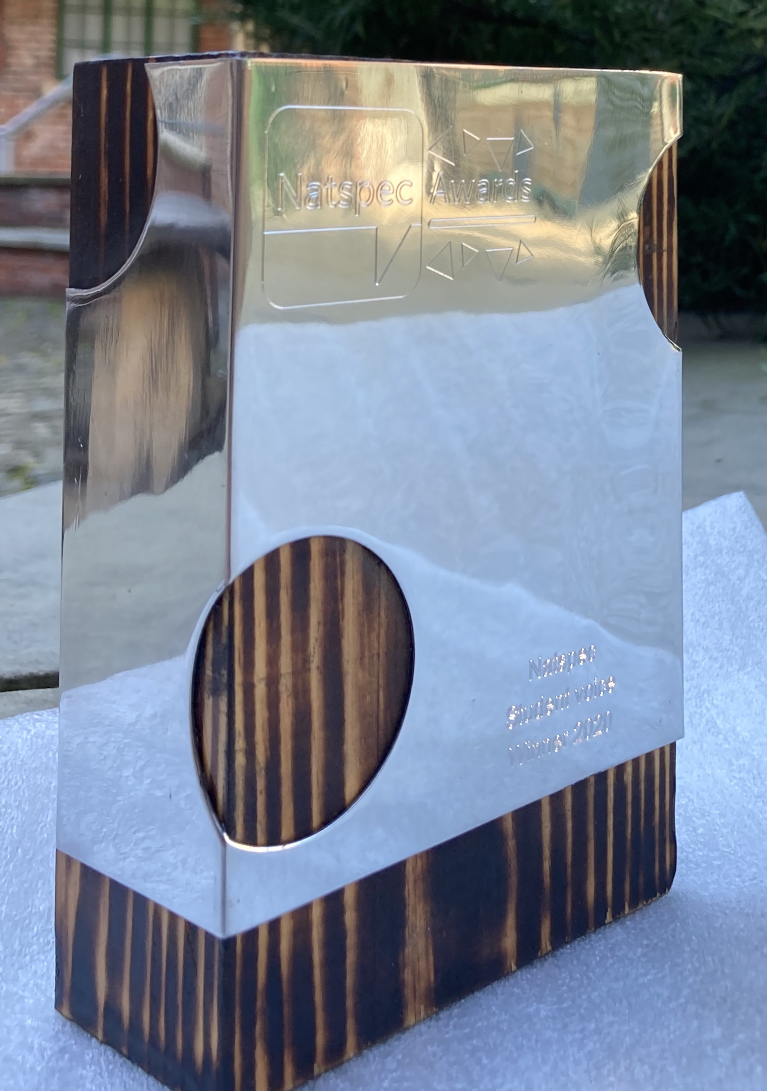 A Natspec 2020 Trophy. It is rectangular in shape, made on wood, with a silver-pewter covering that is engraved covering the top half