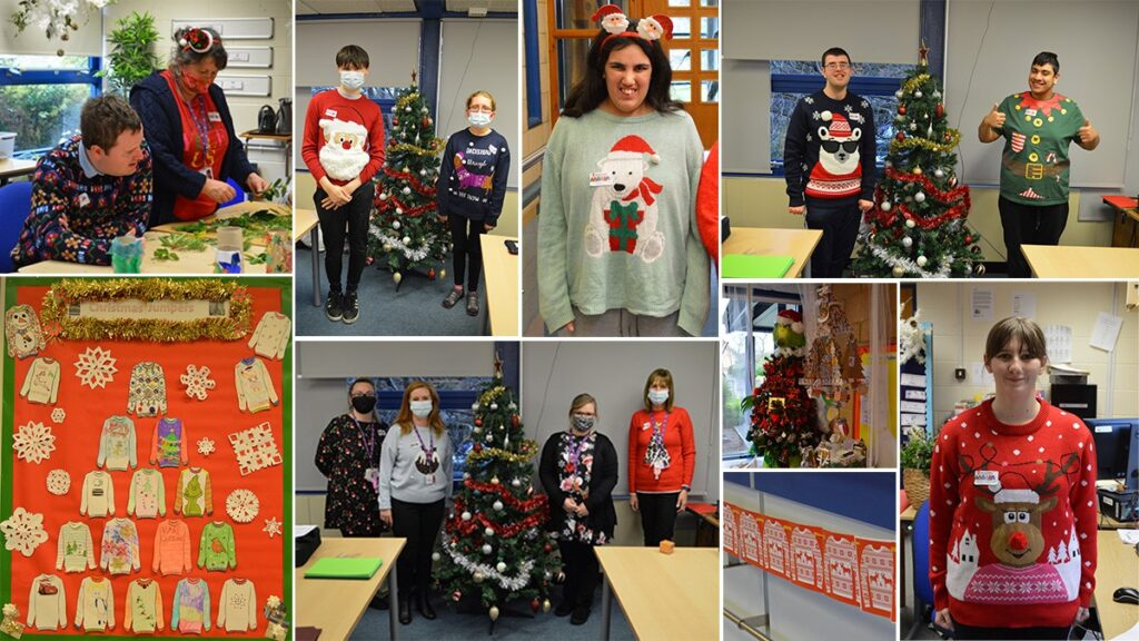 a photo collage featuring numerous students and staff in christmas jumpers. some of them are standing beside decorated christmas trees