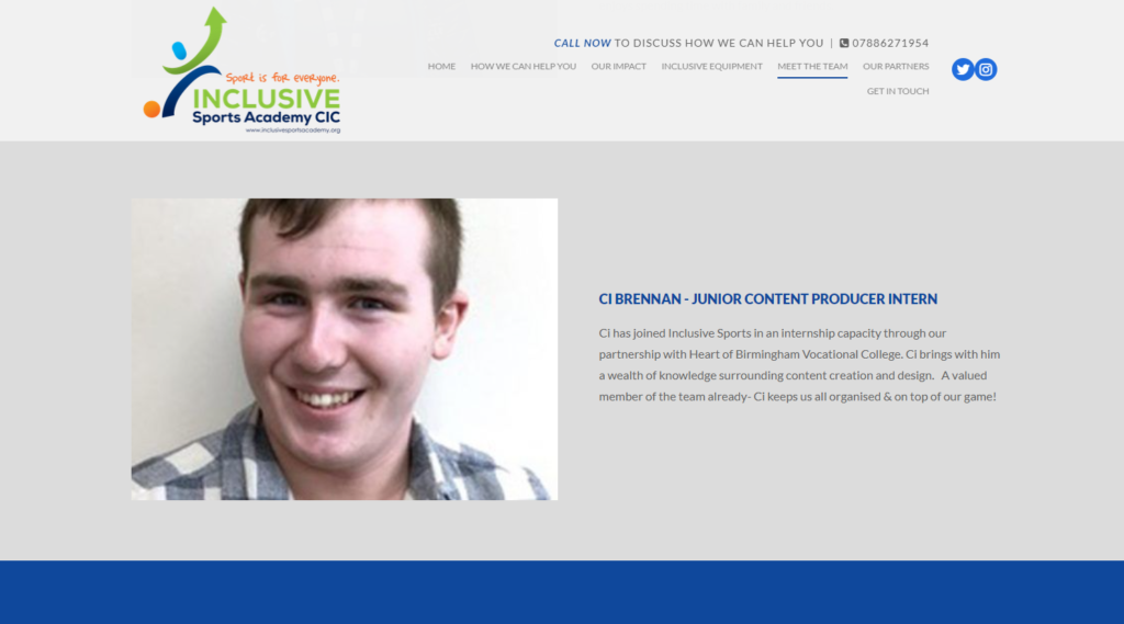 a screenshot of Ci's profile on the inclusive sports academy website
