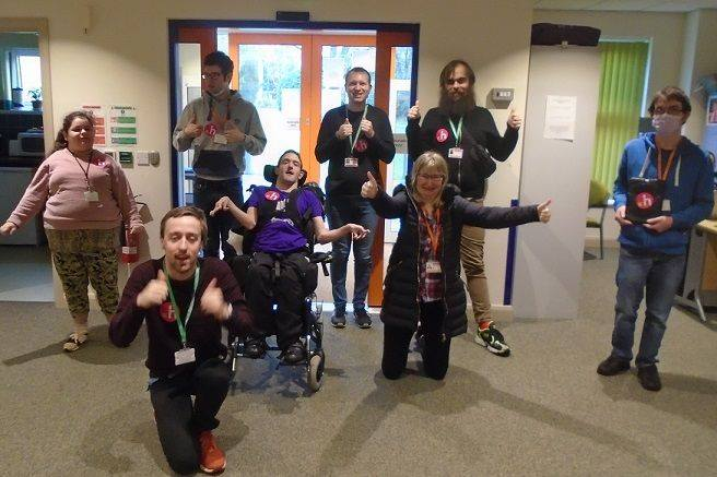 Students and staff at Henshaws college give a big thumbs up to the news that they are COVID secure