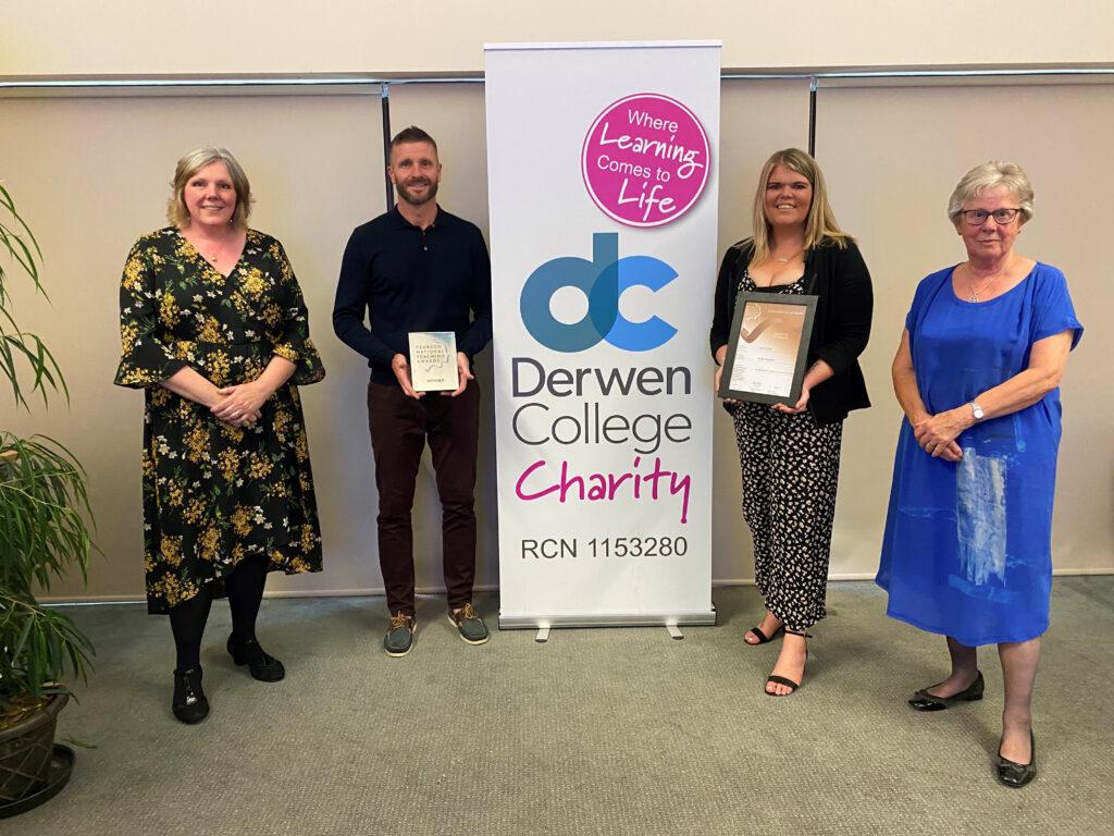 Derwen Principal Meryl Greene standing with Steve and Jessie and their award certificates
