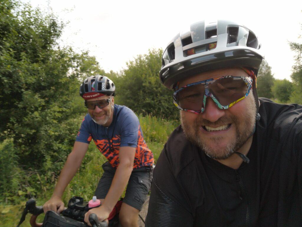 Kieran and John on their bikes