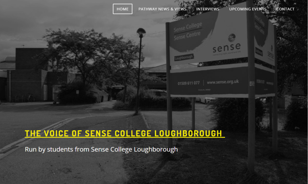 a screenshot of the sense college loughborough student voice homepage, with a menu on top of a black and white photograph of the college campus