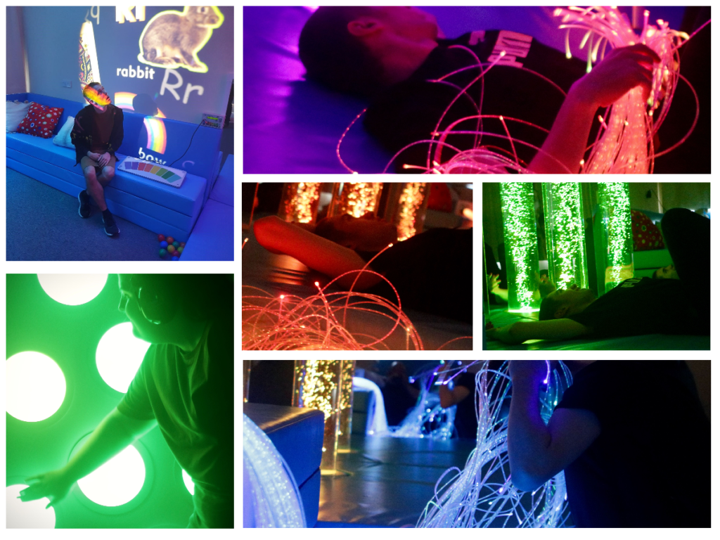 a collage of pictures of students enjoying the sensory room, lit by bright multicoloured lights